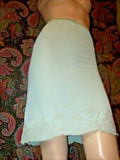 Vintage Usa Silky Nylon Green A-line Lacy Embroidered Half Slip S