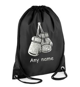 Silver PERSONALISED Drawstring Bag BOXING GLOVES Training Gym Kit Sport Boys
