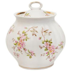BLOSSOMS Floral Porcelain Sugar Bowl. Made in Dulevo, Russia, 25 fl oz