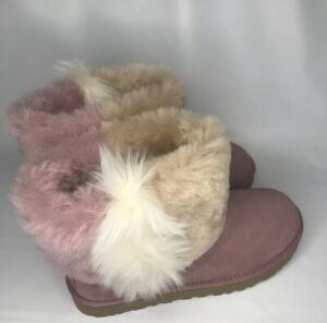 UGG Classic Mini Wisp Cuff Pink Dawn Suede Sheepskin Ankle Boots  Womens