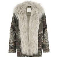 EX River Island Camo Print Coat Jacket Detatchable Fur Size 6 - 18 RRP £70