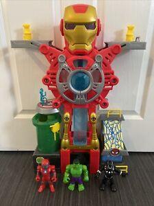Playskool Heroes Marvel Iron Man Headquarters 3x Figures IRON MAN HULK BLACK PAN