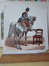 Vintage Print,HORSE WITH TOP HATTED WOMEN,Chromo