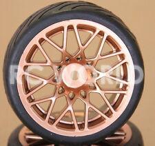 R/C 1/10 Radio Control CAR WHEELS GOLD Burst WHEELS w/ Semi Slick TIRES 4PC