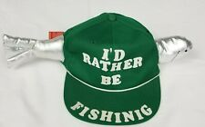 fd31c312b6882 Vintage I d Rather Be Fishing Snapback Trucker Hat Cap Green fish