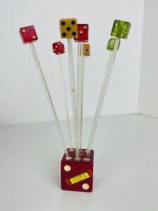 Vintage Bakelite Set Red Dice Swizzle Sticks & Holder Drink Barware FLAWED