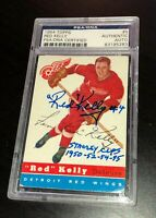 RED KELLY SIGNED TOPPS 1954 RED WINGS CARD #5 PSA/DNA Auto STANLEY CUP INSCRIBED