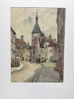 JULIUS DELBOS / Water Color Painting / Exhibited Chicago 1927 / Avalon