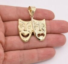 "Theater Mask Pendant Real 10K Yellow Gold 1 3/4"" Sock and Buskin Comedy Tragedy"