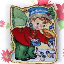 Glittered Wooden Christmas Ornament~Boy Feeding Birds~ Vintage Card Image~`