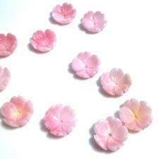 2 PC Natural Pink Queen Conch Shell Flower 12mm - New DIY Bead Design Wholesale