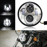 "5.75""' Motorcycle LED Headlight Chrome Hi/Lo Daymaker Projector Cree For Harley"