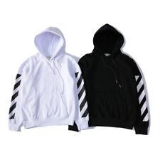 Off White Unisex Striped Long Sleeve Hoodies Hooded Pullover Sweatshirt Sweater