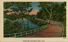 SPIRIT LAKE IA Greetings Winding Road Along the Water Vintage Linen Postcard