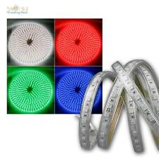 ( 12,83€/m ) 10m LED Rayas RGB 230v regulable IP44 Banda De Luz Con