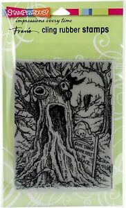 """Stampendous Discontinued Cling Stamp """"Haunted Tree"""" Halloween Stamp CRR295"""