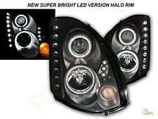 Black G3 Super Bright Halo LED Projector Headlights For 03-05 G35 2DR COUPE