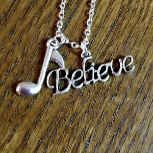 Believe Music Note Necklace, Steve Perry, Silver Eighth Note Jewelry, Music Gift