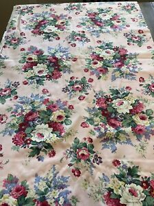 """PETER PAN FABRICS Heavy Cotton Pink Floral Cabbage Rose Upholstery 5 Yd 60"""" Wide"""