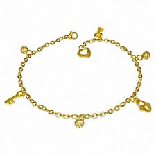 Bracelet With Charms With Key Of Padlock Stainless Steel Golden/Chain Ch