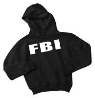 FBI youth hoodie kids fbi sweatshirt boys 2 4 6 8 10 12 black