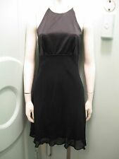 Odessa 8 Black Silk Halter Dress Chiffon and Charmeuse Spaghetti Straps No Back