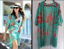 Boho Floral Bohemian Hippy Kimono Kaftan Beach Mermaid Coverup Tassel Cape Loose