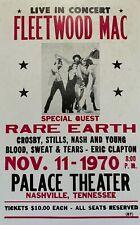 Fleetwood Mac Concert Poster 1970 Nashville, Tn Rare Earth, Eric Clapton, Crosby