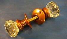 Antique 12 Point Glass & Brass Door Knobs  - 1930's - Excellent Condition