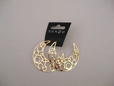 Gold Coloured Open Patterned Crescent Moon Drop Earrings New