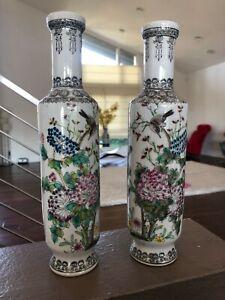 """Chinese Antique Vintage Reproduction Porcelain Vase (1 Pair) """"10"""" #RCC002"""