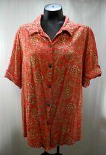 TravelSmith Red Green Floral Batik Button-Front Short Sleeve Shirt - Women's 2X