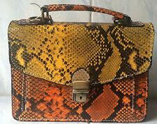 ebarrito Handtasche echt Leder Handarbeit Schangenoptik Krokomuster bunt Luxus