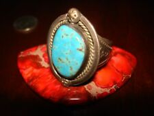 Stunning Massive Vintage Native American Sterling Silver & Turquoise Ring.925