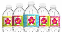 Luau Bottle Wraps - 20 Luau Water Bottle Labels - Tiki Luau Decorations - Made