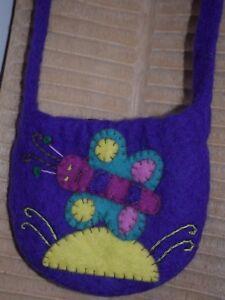SALE Felt Bag Child's Felted Deep Dark Purple Butterfly Fair Trade CLEARANCE