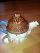 Vtg English Cottage Ceramic Tea Pot 3D Thatched Roof House Tea Kettle Retro Pot