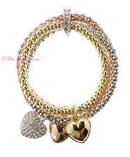 Love Forever Sweet Hearts Charms Tri-col Popcorn Bracelets w/ Swarovski Crystals