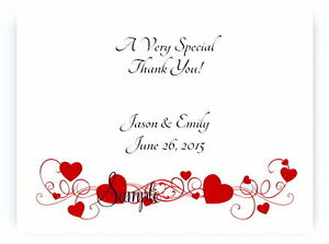 100 Personalized Red Hearts Bridal Wedding Thank You Cards