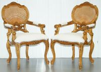 PAIR OF LOVELY FRENCH PROVINCIAL CARVER WICKER CANE BACK CARVED WOOD ARMCHAIRS