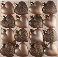 Set Of 16 Glitter Matt CHAMPAGNE Hearts Christmas Tree Baubles Decorations