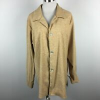 Coldwater Creek 1X Heavy Shirt Tan Textured Long Sleeve Button Up Stretch