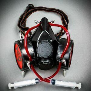 Halloween Hazard Gas Mask Cosplay w/ Syringe Steampunk Men Party Costume