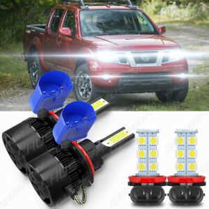 4x For Nissan Frontier 2005-2018 High/Low Beam LED Headlight+Fog Light Bulbs Kit