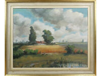'Suffolk Sentinels' - Original mid-century Oil Painting on canvas. Lacoste.