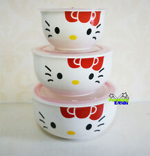 New 3 Pcs Hello Kitty Ceramic Food Rice Bowl Storage Containers Set w/lids RED