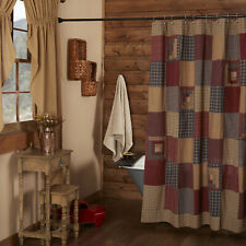 Vhc Brands Rustic Shower Curtain Red Button Holes for Hooks Patchwork Bath Decor