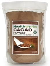 Healthworks Raw Certified Organic Cacao Powder 1 lb, 2 lb, 3 lb, and 5 lbs