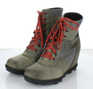 55-41  $170 Women's Sz 8 M Sorel Lexie Nubuck Leather Wedge Boots In Olive Green