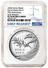 2020 P END of WORLD WAR II 75th ANNIVERSARY 1oz SILVER MEDAL NGC PF70 PRE-SALE